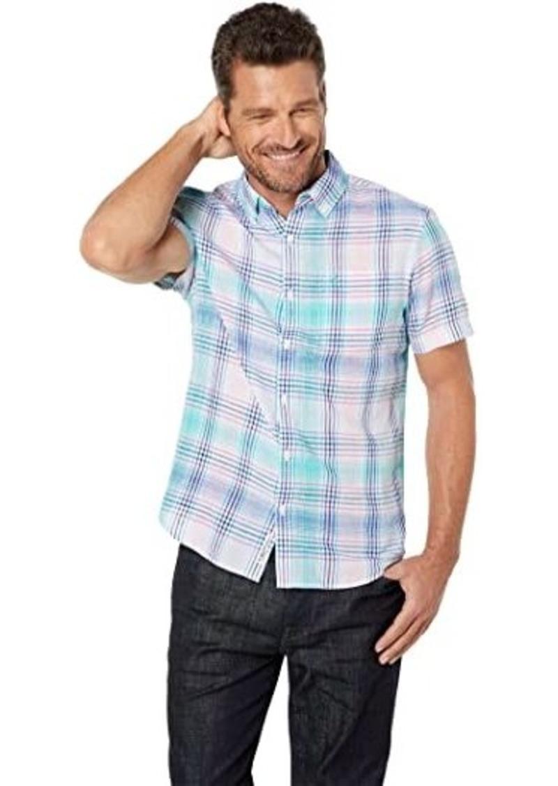 Original Penguin Roadmap Plaid Linen Blend Short Sleeve Button-Down Shirt