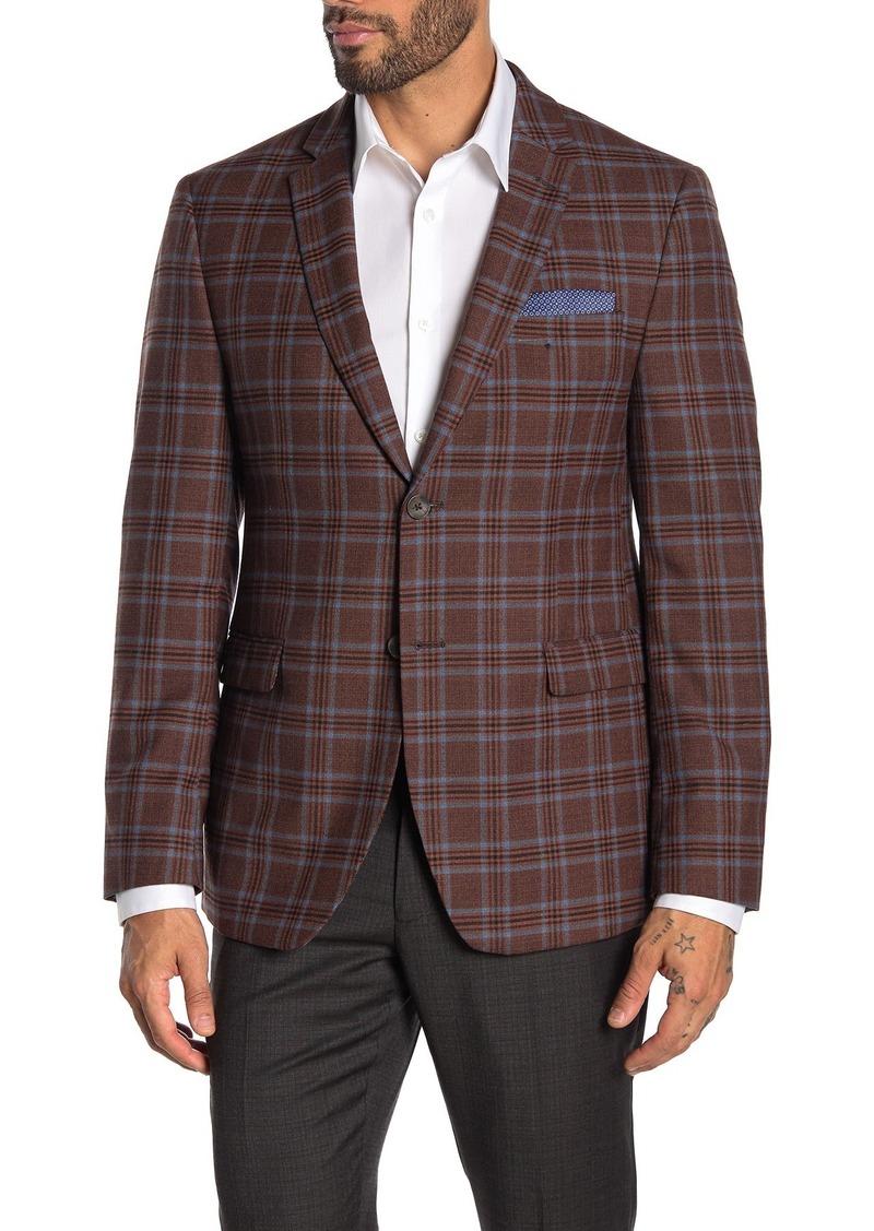 Original Penguin Rust Plaid Two Button Notch Lapel Suit Separate Wool Blend Blazer