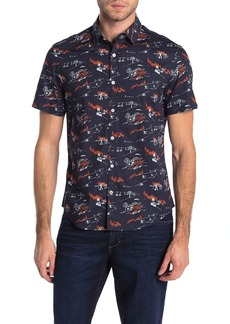 Original Penguin Short Sleeve Apres Ski Printed Slim Fit Shirt