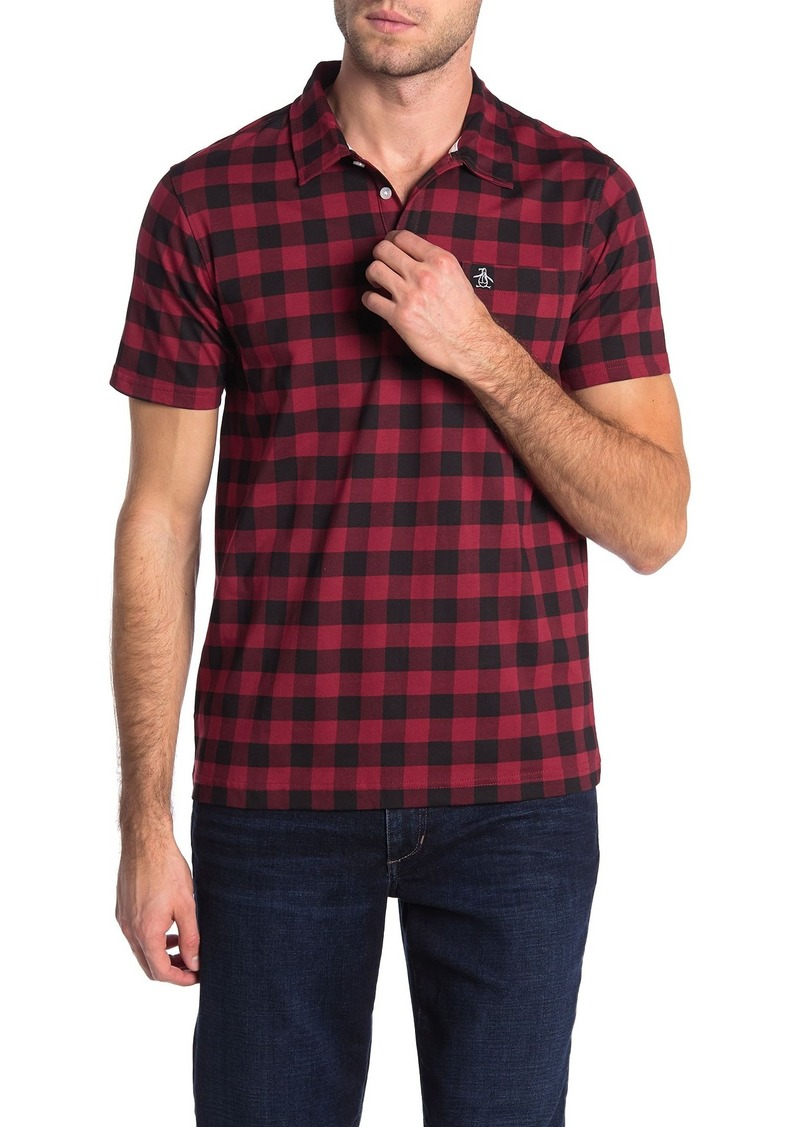 Original Penguin Short Sleeve Buffalo Check Printed Polo