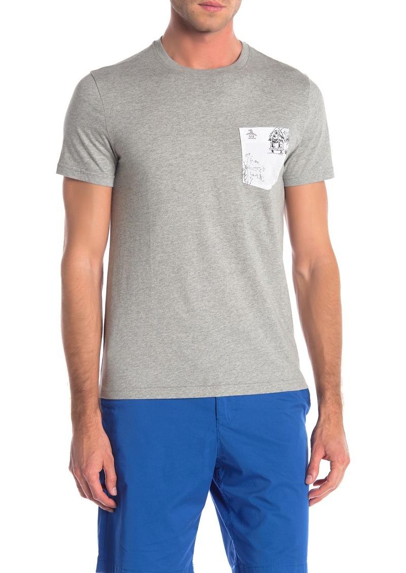 Original Penguin Hand Drawn Tropical Woven T-Shirt