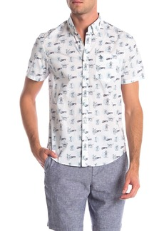 Original Penguin Island Tiki Drink Print Slim Fit Woven Shirt