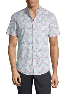 Original Penguin Short-Sleeve Mixed-Print Shirt