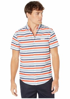Original Penguin Short Sleeve Shirt Horizontal Stripe Stretch