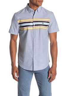 Original Penguin Short Sleeve Slim Fit Printed Chambray Button Front Shirt