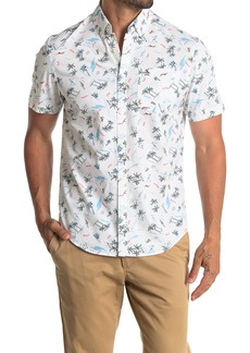Original Penguin Short Sleeve Tropical Print Slim Fit Woven Shirt