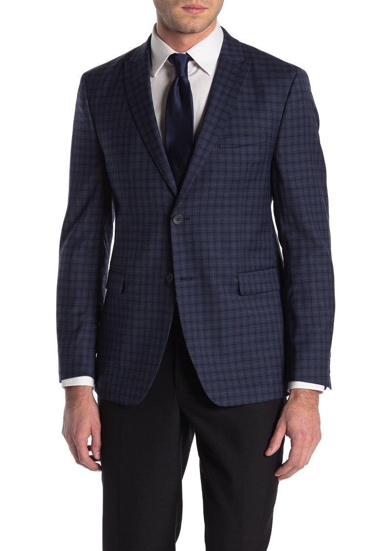 Original Penguin Slim Blue Check Wool Blend Sport Coat