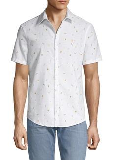 Original Penguin Slim-Fit Beer-Print Button-Down Shirt