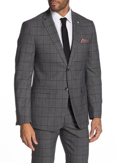 Original Penguin Slim Fit Grey Plaid Two Button Wool Blend Suit Separates Jacket