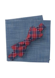 Original Penguin Snider Plaid Bow Tie & Pocket Square Set