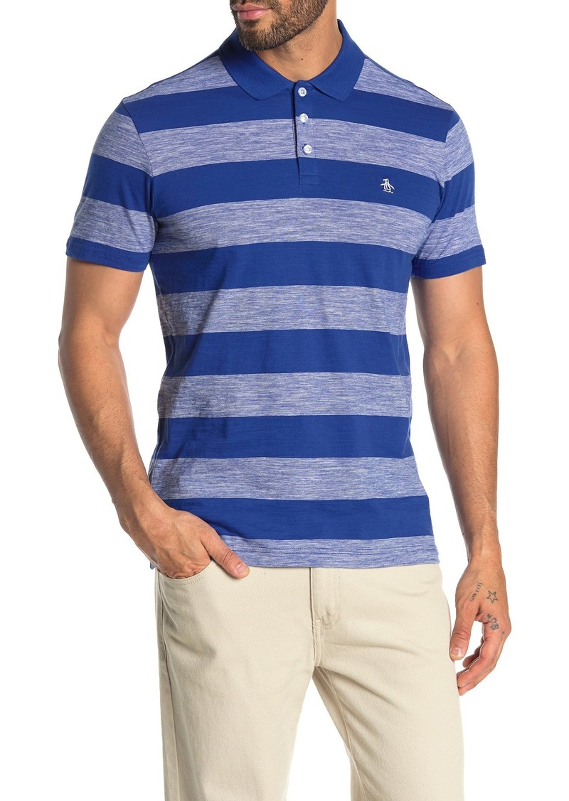 Original Penguin Stripe Print Heathered Knit Polo