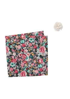 Original Penguin Tibbitt Floral Lapel Pin & Pocket Square Set