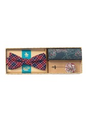 Original Penguin Walford Plaid Bow Tie, Pocket Square, & Lapel Pin Set