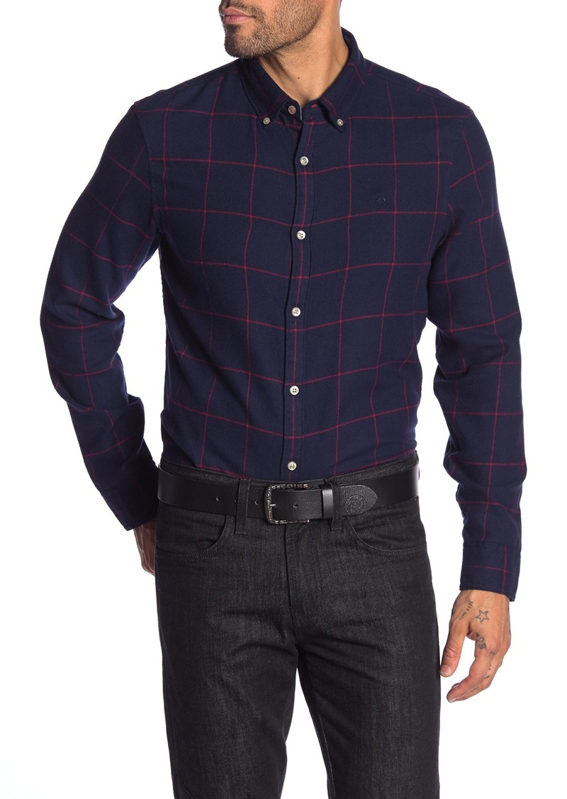Original Penguin Windowpane Long Sleeve Heritage Slim Fit Shirt