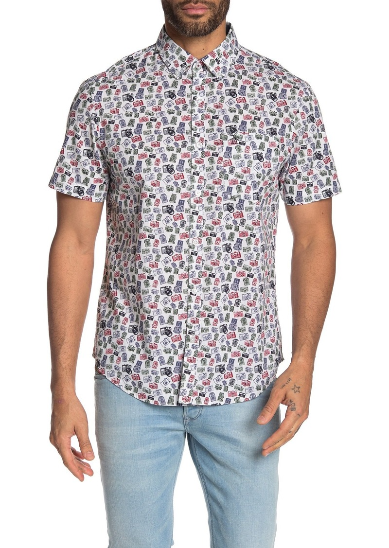 Original Penguin Woven Short Sleeve Camper Slim Fit Shirt