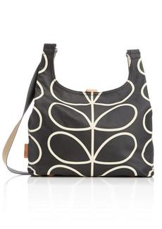Orla Kiely Etc Giant Linear Stem Midi Sling Bag Black+Cream