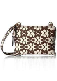 Orla Kiely Textured Vinyl Flower Wave Double Poppy Bag