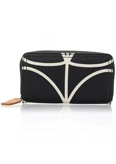 Orla Kiely Women's Etc Giant Linear Stem Big Zip Wallet Black+Cream