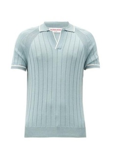 Orlebar Brown Deco rib-knitted cotton and silk polo shirt