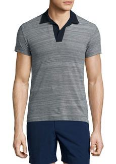 Orlebar Brown Felix Johnny-Collar Melange Polo Shirt
