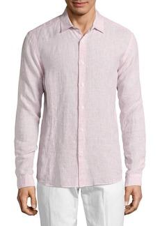 Orlebar Brown Linen Long Sleeve Polo