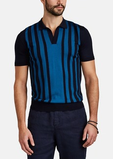 Orlebar Brown Men's Horton Striped Merino Wool Polo Shirt