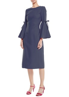 Oscar de la Renta 3/4-Flutter-Sleeve Jewel-Neck Stretch-Wool Pencil Dress