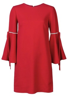 Oscar de la Renta 3/4 flutter sleeved dress