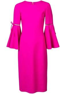 Oscar de la Renta 3/4 flutter sleeved pencil dress