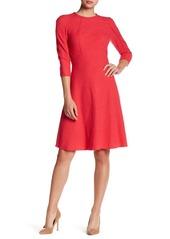 Oscar de la Renta 3/4 Sleeve Crew Neck Wool Blend Dress