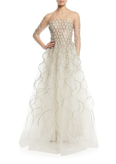 Oscar de la Renta 3/4-Sleeve Metallic Embroidered Tulle Evening Gown