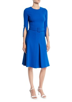 Oscar de la Renta 3/4 Split Sleeve Jewel-Neck Belted A-Line Wool Knee-Length Day Dress