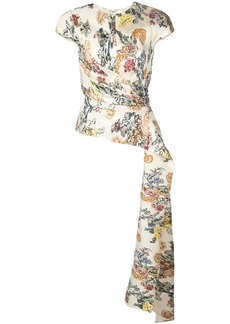Oscar de la Renta floral fil coupe blouse