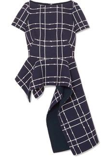 Oscar de la Renta Asymmetric Embroidered Cotton-blend Top