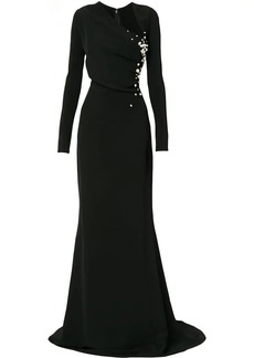 Oscar de la Renta Asymmetric Pearl Embroidered gown