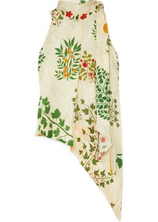 Oscar de la Renta Asymmetric Pussy-bow Floral-print Silk-jacquard Top