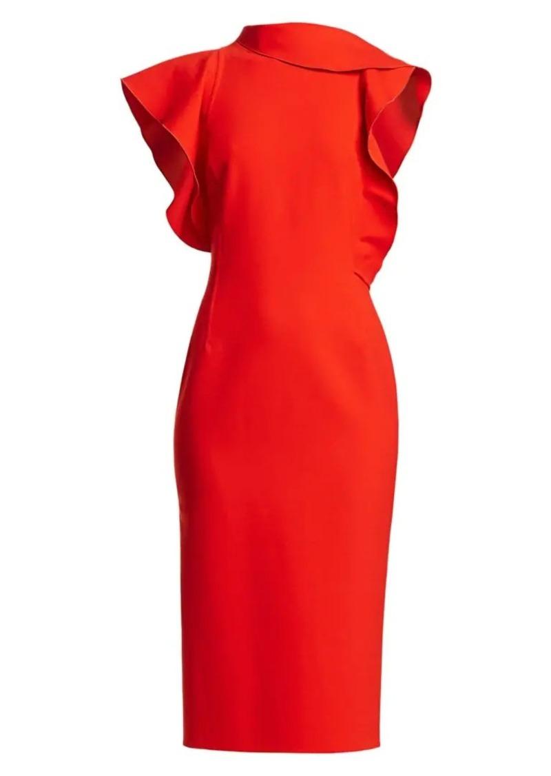 Oscar de la Renta Asymmetric Ruffle-Sleeve Midi Dress