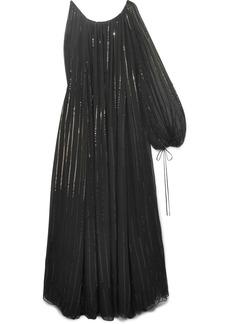 Oscar de la Renta Asymmetric Sequin-embellished Silk-chiffon Gown