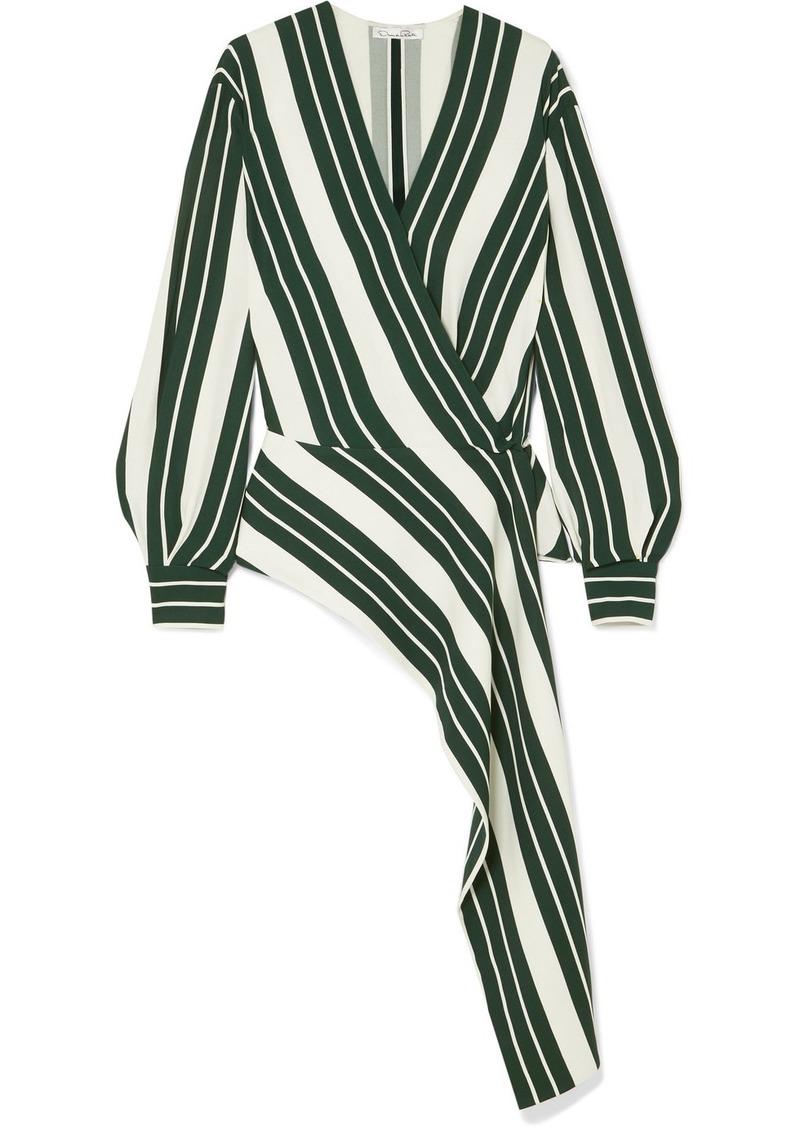 Oscar de la Renta Asymmetric Striped Crepe Wrap Blouse