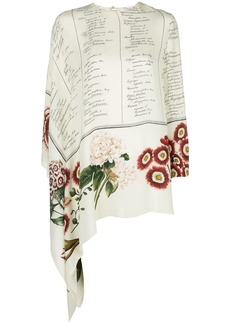 Oscar de la Renta Floral Calligraphy blouse