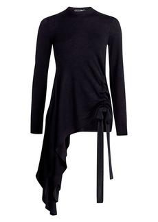 Oscar de la Renta Asymmetric Virgin Wool Sweater