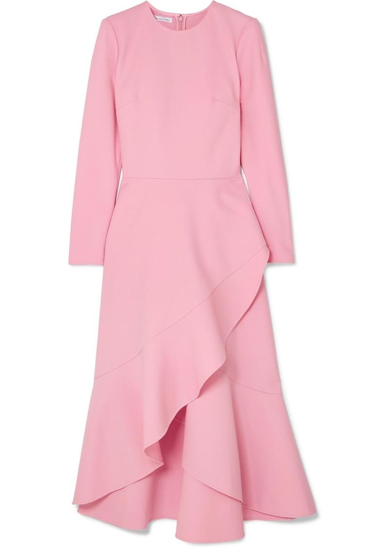 Oscar de la Renta Asymmetric Wool-blend Midi Dress