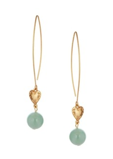 Oscar de la Renta Aventurine & Heart Pendant Drop Earrings
