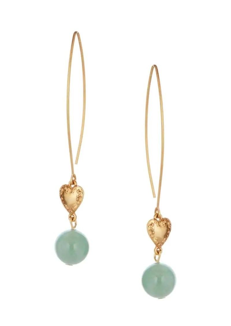 Oscar de la Renta Aventurine & Heart Pendant Drop Earrings