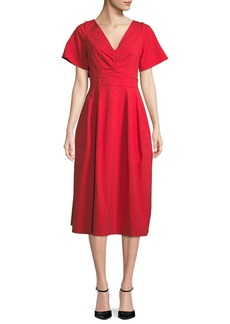 Oscar de la Renta Back-Bow V-Neck Short-Sleeve Lace-Guipure Midi Dress