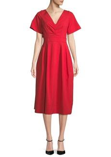 Oscar de la Renta Back-Bow V-Neck Short-Sleeve Lace-Guipure Midi Dress