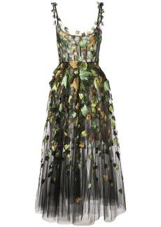 Oscar de la Renta ballet-styled dress with leaf embroidery