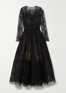 Oscar de la Renta Bead-embellished Lace And Organza Gown