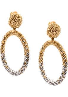 Oscar de la Renta beaded drop hoop earrings