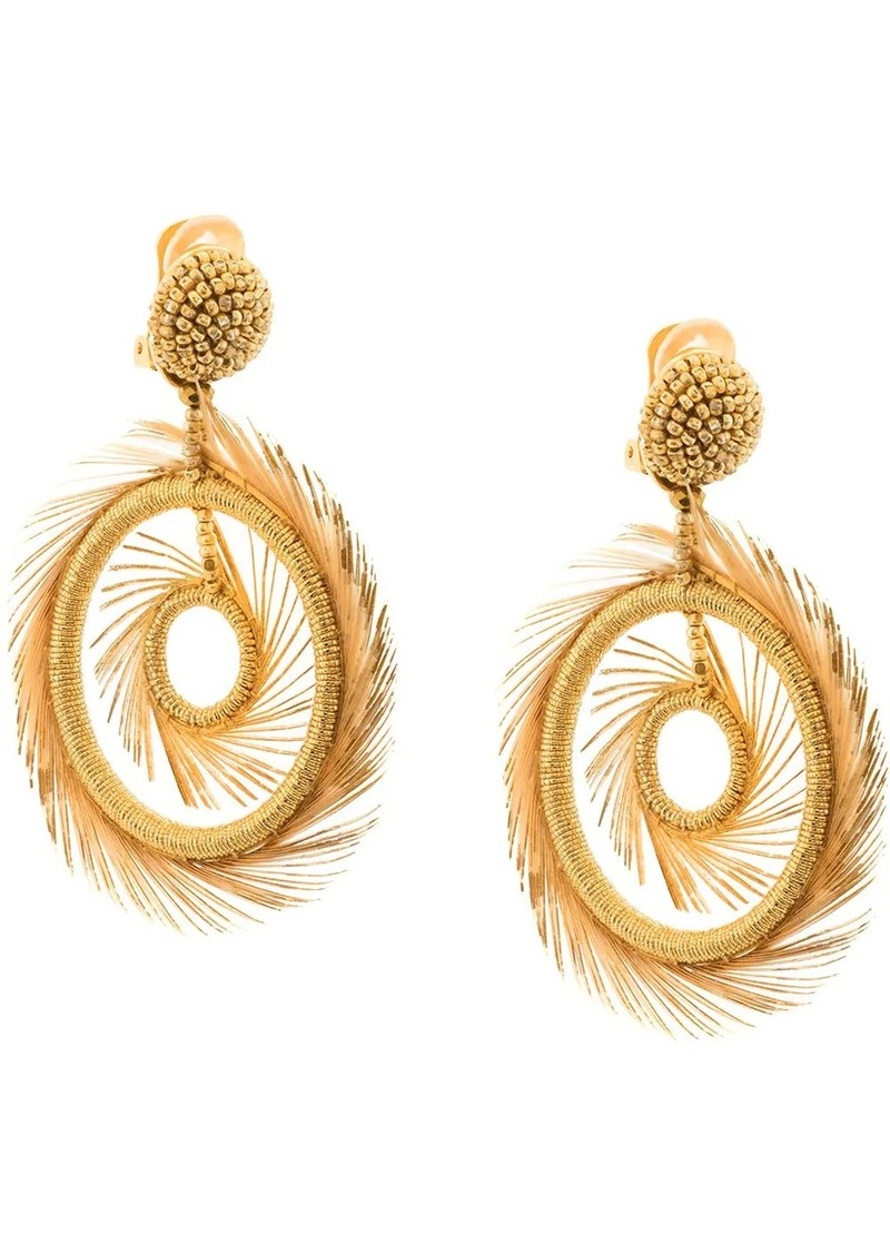 Oscar de la Renta beaded feather hoop